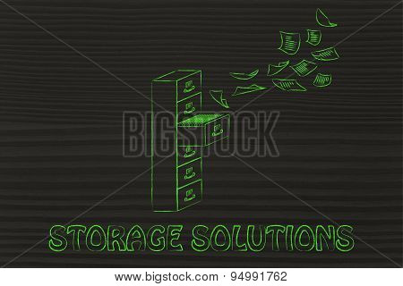 File Cabinet With Business Documents Flying, Concept Of Storage Solutions