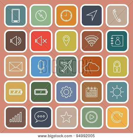 Mobile Phone Line Flat Icons On Orange Background