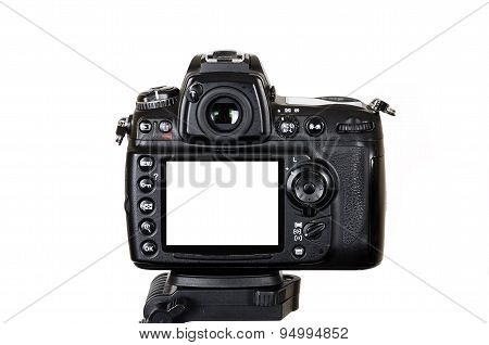 Digital camera with blank screen isolated on white