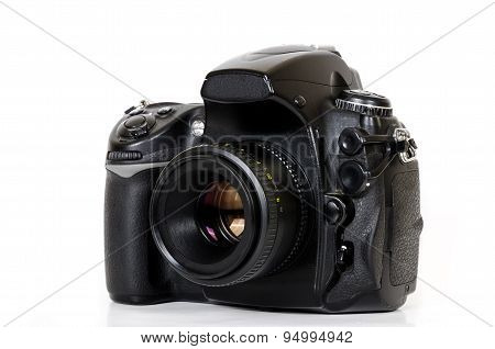 Digital camera with lens isolated on white