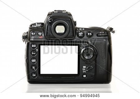 Digital camera with blank screen on white