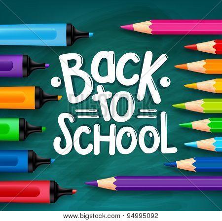 Back to School Title Words Written in a Green Chalkboard