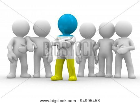 3d small person the leader of a team allocated with Karaites flag. 3d image. Isolated white backgrou