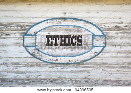 Ethics sign on side of shed