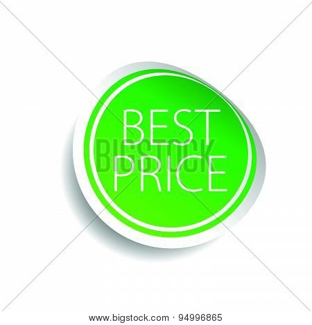 Sticker Of Best Price Green Vector