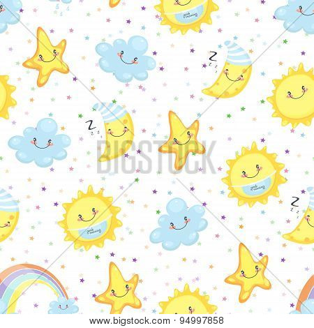 Children Illustration, Cute Sweetheart, Sleepy Moon, Happy Cloud
