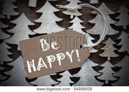 Brown Christmas Label With Be Happy