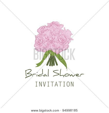 Invitation wedding card Bridal shower. Bouquet of pink hand drawn roses