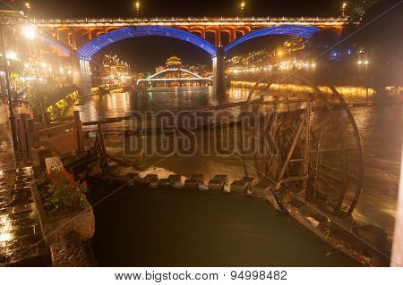 Night Scenery Of The Phoenix Town ( Fenghuang Ancient City ).