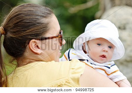 Mother Walking With Baby Boy