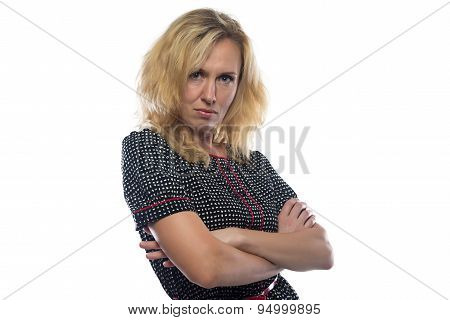 Image of woman with blond hair, arms crossed
