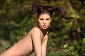 pic of hells angels  - The beautiful young girl with horns like devil or angel outdoor - JPG