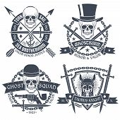foto of anchor  - Vintage emblem with skull well suited as tattoo t - JPG