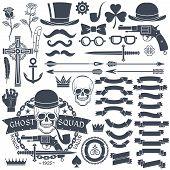 picture of crossed pistols  - Set of elements for design retro emblem logo - JPG