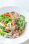 picture of thai cuisine  - Spicy salad of roasted beef Thai style cuisine  - JPG