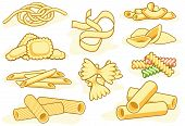 stock photo of italian food  - Set of editable vector icons of different pasta shapes - JPG
