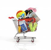 picture of old suitcase  - Shopping cart with beach accessories - JPG