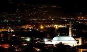 stock photo of vicenza  - Vicenza city lights at night and the illuminated monuments - JPG