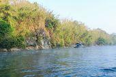 stock photo of raft  - Raft on the river Kwai Kanchanaburi Thailand - JPG