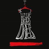 stock photo of little black dress  - Silhouette of woman classic little black dress from words - JPG