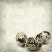 image of quail  - textured old paper background with speckled quail eggs - JPG