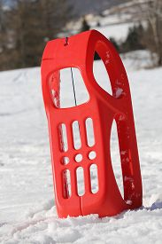 pic of rebs  - reb sled for playing in the snow in mountains in winter - JPG