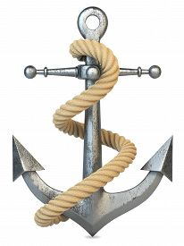 foto of anchor  - Anchor and rope isolated on white background 3d - JPG