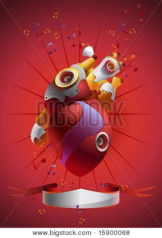 Abstract drawing for music aims. Heart which is mixed with a musical details also contain place for text.