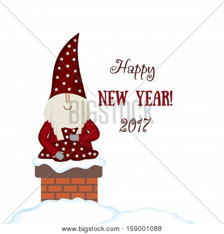 Nisse Santa Claus scandinavian folk style, nordic Christmas motive in red coat with bag of gifts in fireplace chimney on white background, vector illustration