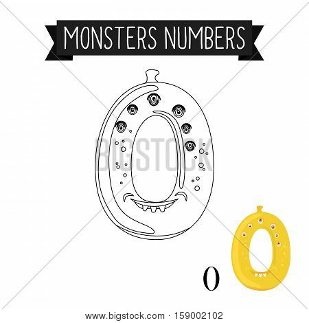 Coloring page monsters numbers for kids. Number 0 vector illustration