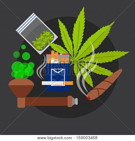 Drugs poster with marijuanna leaf anf sigarettes vector illustration