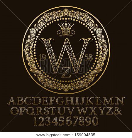 Golden ornate letters and numbers with W initial monogram. Decorative patterned font for logo design. Isolated english vintage alphabet figures.