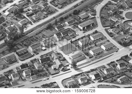 Norway. Aerial european rural city view. Andalsnes. Nesaksla viewpoint. Horizontal