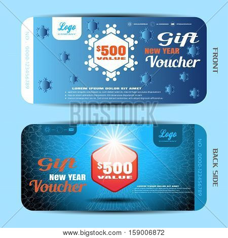 Vector new year gift voucher with snowflake and label on the blue gradient background with hexagon pattern.