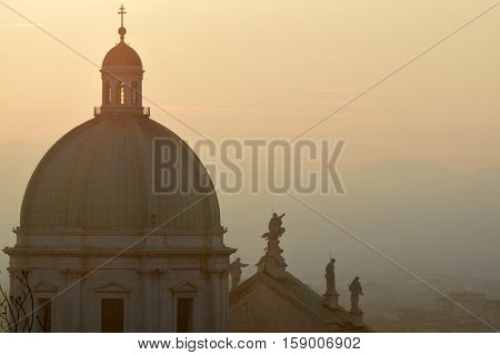 Panoramic view of the dome of the cathedral of Brescia - Italy