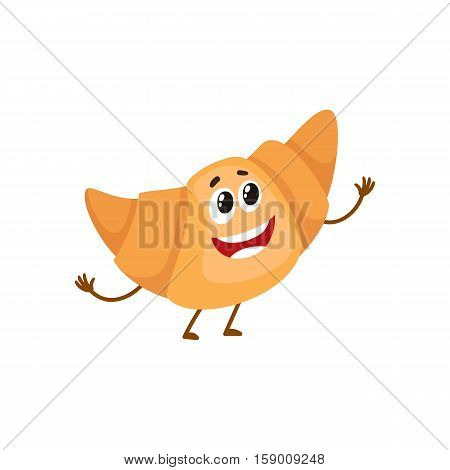Funny croissant, bread roll character, cartoon style vector illustration isolated on white background. Cute smiley freshly baked croissant character with eyes and legs
