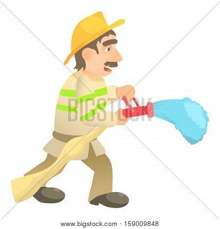 Extinguishing firefighter icon. Cartoon illustration of extinguishing firefighter vector icon for web