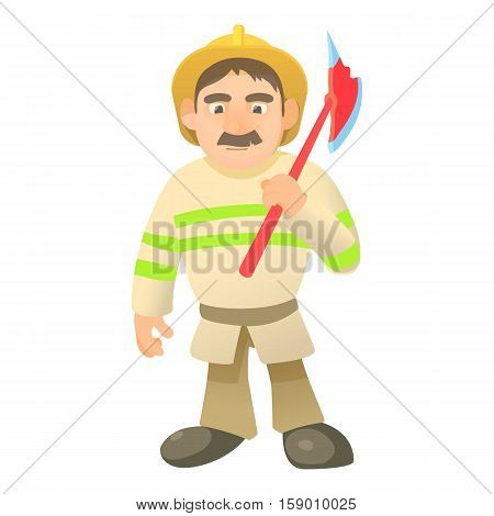 Firefighter with axe icon. Cartoon illustration of firefighter with axe vector icon for web