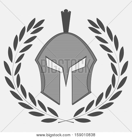 knight icon with laurel wreath. Spartan, Warrior, gladiator - vector