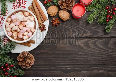 Christmas background with Hot chocolate. Top view, horizontal with copy space.