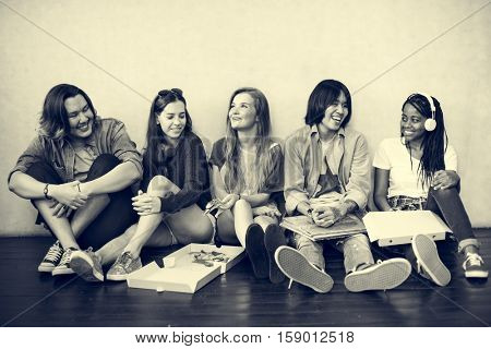 People Friendship Togetherness Pizza Activity Youth Culture Concept