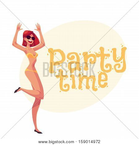 Young slim woman with short red hair in bikini dancing, cartoon style invitation, greeting card design. Party invitation, advertisement, Young and beautiful red haired girl dancing