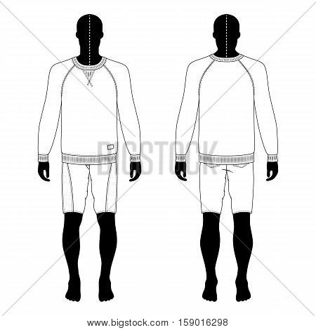 Full length man's black silhouette figure in a sweatshirt and skinny shorts template (front & back view) vector illustration isolated on white background