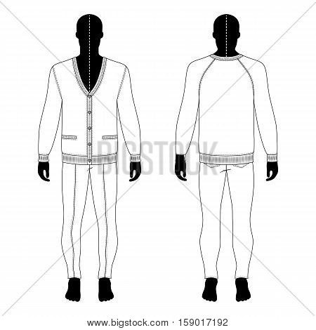 Full length man's black silhouette figure in a cardigan & skinny jeans template (front & back view) vector illustration isolated on white background