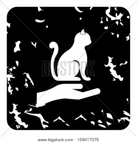 Protecting cat icon. Grunge illustration of protecting cat vector icon for web