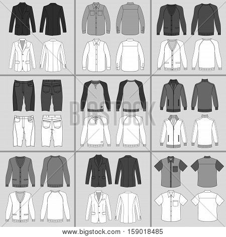 Men's clothing outlined template set front & back view (jacket shirt cardigan shorts sweatshirt sports pullover) vector illustration isolated on grey background