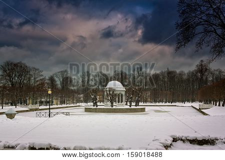 A cold day in the Kadriorg park in Tallinn Estonia. There is quite a lot of snow already in the beginning of November.