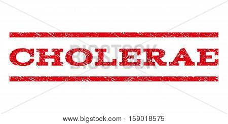 Cholerae watermark stamp. Text tag between horizontal parallel lines with grunge design style. Rubber seal stamp with dust texture. Vector red color ink imprint on a white background.