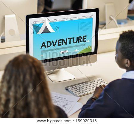 Adventure Journey Camping Traveling Explore Tent Concept