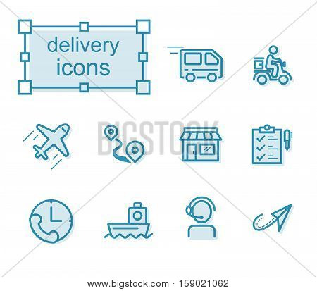 Thin line icons set Linear symbols set Delivery